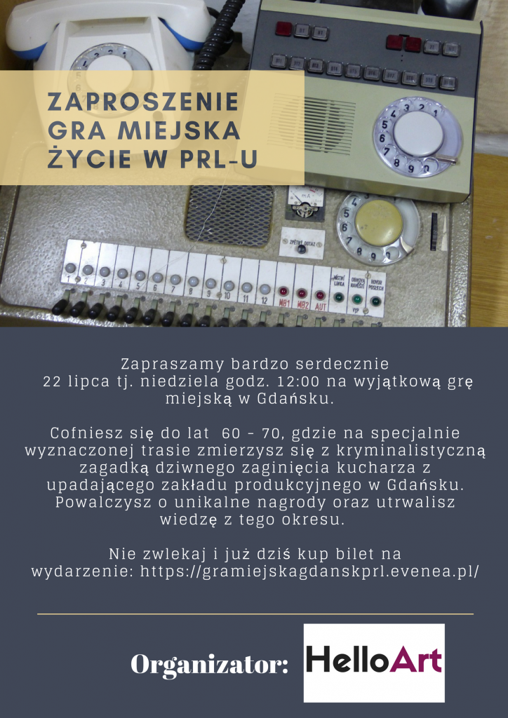 ZAPROSZENIE GRA MIEJSKA ŻYCIE W PRL-U